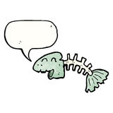 Talking fish bones cartoon. Retro cartoon with texture. Isolated on White Royalty Free Stock Images