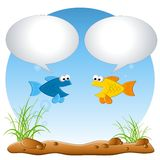 Talking Fish in Tank. An illustration featuring a couple of fish in a tank talking about whatever you add to the bubbles Stock Photo