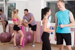 Talking before fitness training Stock Photo