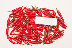 Talking food: many red chili peppers and comic label. Talking food: many red hot chili peppers background with white comic label Royalty Free Stock Photos