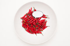 Talking food: red hot chili peppers with label. Talking food: heap of red hot chili peppers in white plate and white background with label Royalty Free Stock Images