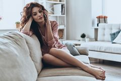 Talking with friend. Attractive young woman talking on her smart phone while sitting on the sofa at home Stock Image