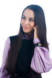 Talking girl by mobile Royalty Free Stock Photography
