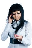 Talking girl by mobile Royalty Free Stock Photos