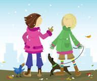 Talking girls. Two young stylish school girls chatting and enjoing walk with their pets. One friend, emotionally talking with another vector illustration