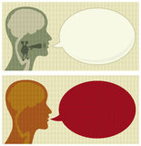 Talking head. Talking human head with speech bubble Stock Photography