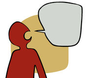 Talking head. Simple stylised person with speech bubble Stock Image