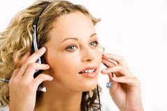 Talking by the headset Stock Images