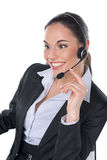 Talking by headset Royalty Free Stock Images