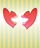 Talking Hearts Speed Dating. A fun and versatile design element for Valentine's Day, speed dating or other couples gatherings, these male and female talking love Royalty Free Stock Photography