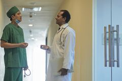 Talking medical workers stock photography