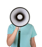 Talking into megaphone Royalty Free Stock Photography