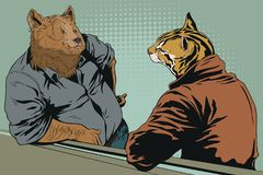 Talking men. Bear and wild cat ocelot. People in images of anima. Stock illustration. People in images of animals. Talking men. Bear and wild cat ocelot Royalty Free Stock Photo