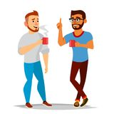 Talking Men Vector. Laughing Friends, Office Colleagues. Communicating Male. Meeting. Conversation, Analysis Concept. Talking Men Vector. Laughing Friends royalty free illustration