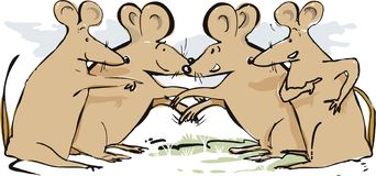 Talking Mice Greeting Each Other. An illustration of a group of talking mice greeting each other royalty free illustration