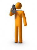 Talking with Mobile Phone. 3D rendered image : Talking with Mobile Phone Royalty Free Stock Photo