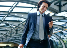 Talking on mobile phone in subway Royalty Free Stock Photo