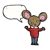 Talking mouse in clothes cartoon Stock Photo