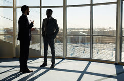 Talking in office. Communicating businessmen standing by office window on sunny day stock photography