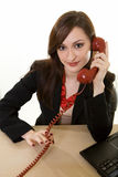 Talking on an old phone Stock Photography