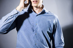 Talking over the phone royalty free stock images