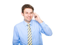 Talking over the phone, isolated Royalty Free Stock Photos