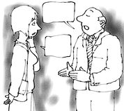 Talking pair. Two people with speech bubbles talking Stock Image