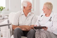 Talking with patient Stock Photos