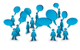 Talking people. A group of people with speech bubbles above them Stock Photo