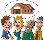 Talking people. Some people talking about houses royalty free stock image