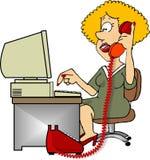 Talking on the phone stock illustration
