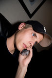 Talking in phone. Male taking in a telephone Stock Photography