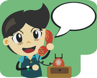 CUTE BOY TALKING ON THE PHONE Stock Image