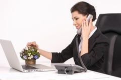 Talking at phone. Royalty Free Stock Photography