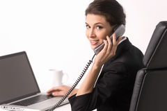 Talking at phone. Stock Images