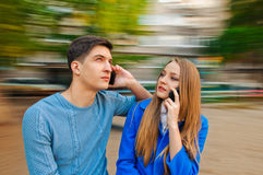 Talking with phone Royalty Free Stock Photos