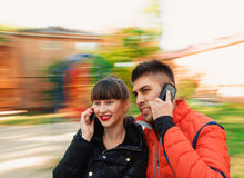 Talking with phone Royalty Free Stock Image
