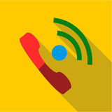 Talking on phone icon, flat style Stock Images