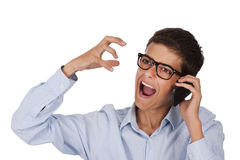 Talking on phone Stock Images