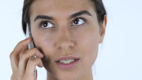 Talking on Phone, Woman Close Up Royalty Free Stock Images