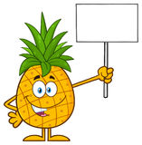 Talking Pineapple Fruit With Green Leafs Cartoon Mascot Character Holding A Blank Sign. Illustration Isolated On White Background Royalty Free Stock Photo