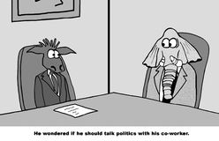Talking Politics. Business cartoon about a conservative worker wondering if he should talk politics with his liberal coworker Royalty Free Stock Images