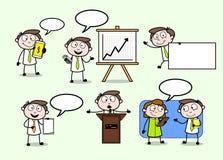 Talking & Presenting Cartoon Professional Businessman Poses. Vector design vector illustration