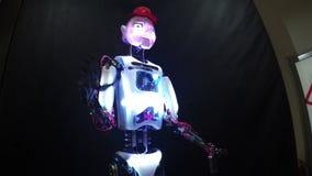 Talking robot stock video