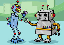Talking robots cartoon illustration Stock Photo