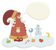 Talking Santa. Illustration of cartoon style talking Santa on the snow cloud Royalty Free Stock Photo
