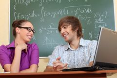 Talking students Royalty Free Stock Photo