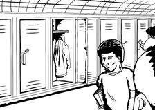 Talking Students Near Open Locker Stock Images