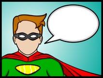 Talking superhero. A cartoon illustration of a talking superheroes Stock Photo