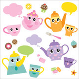 Talking Teapots and Teacups. Vector illustration of talking teapots and teacups cartoon characters Royalty Free Stock Image